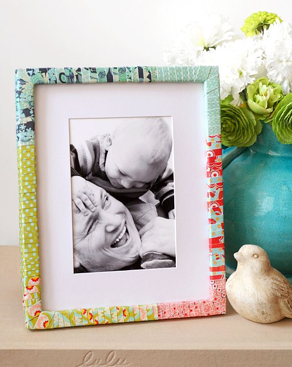 A beautiful and bright paper wrapped frame tutorial by blog.basicgrey.com!