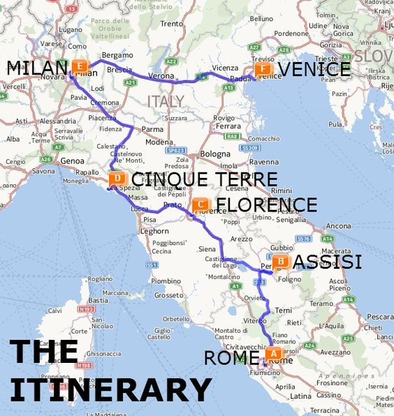The Best of Italy by Train: A Two Week Itinerary Map: