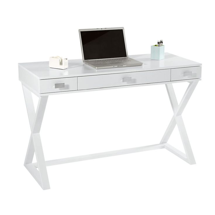"""""""side table"""" for computer? $169 . Office Depot See Jane Work® Kate Writing Desk, 30""""H x 47 1/2""""W x 20""""D, White"""