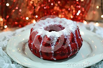 Red velvel cake with Christmas background.