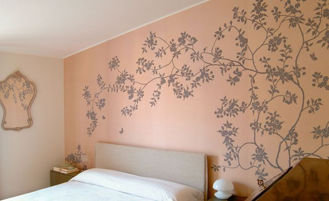Bedroom wall in Misha's modern chinoiserie, Pumpkin Garden wallpaper design on Peach dyed silk