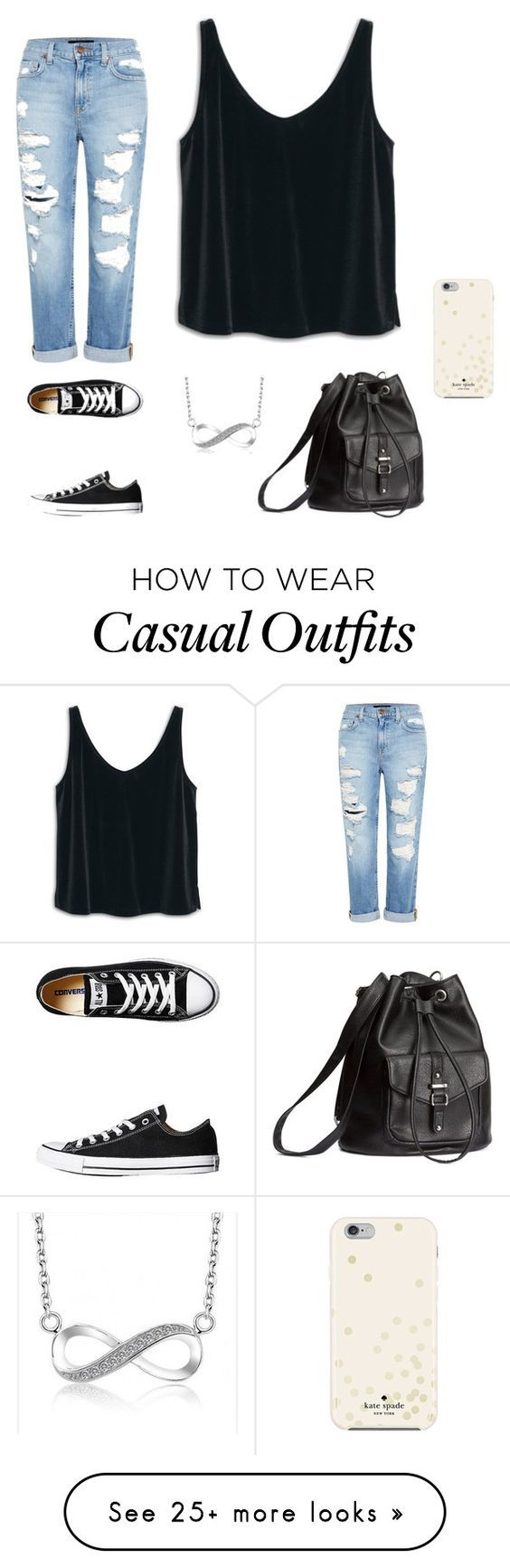 """Casual Movie"" by ayowendy on Polyvore featuring MANGO, Genetic Denim, Converse, H&M and Kate Spade:"