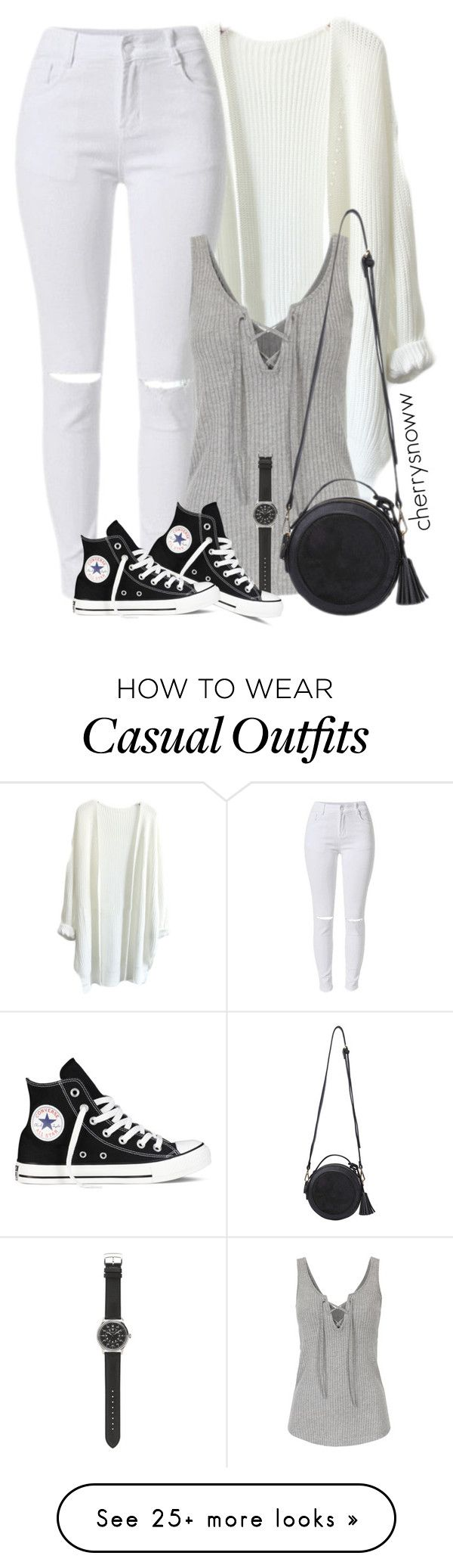 """Monochrome casual spring outfit"" by cherrysnoww on Polyvore featuring J.Crew and Converse"