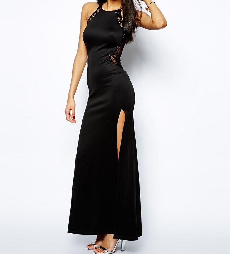Dámske oblečenie | Dámske šaty | TFNC Maxi With Lace Mesh Inserts šaty čierne | www.nells.sk - Parfumy, kozmetika a oblečenie svetových značiek.