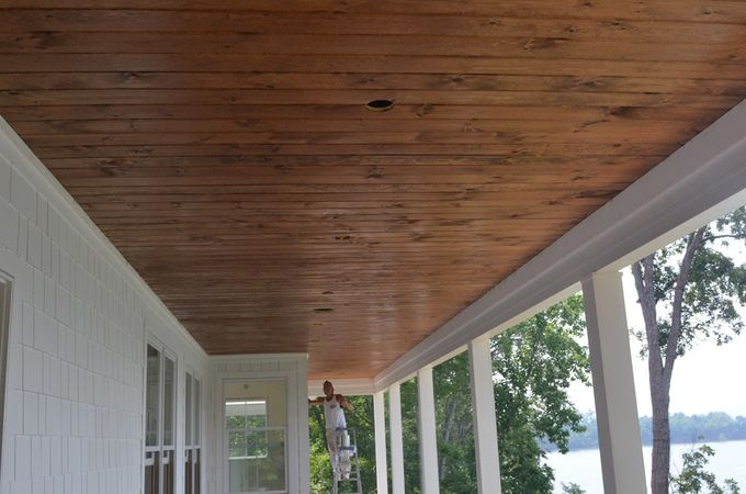 stained beadboard ceiling porch   love this stain. i think it's called early americana. it's the ...