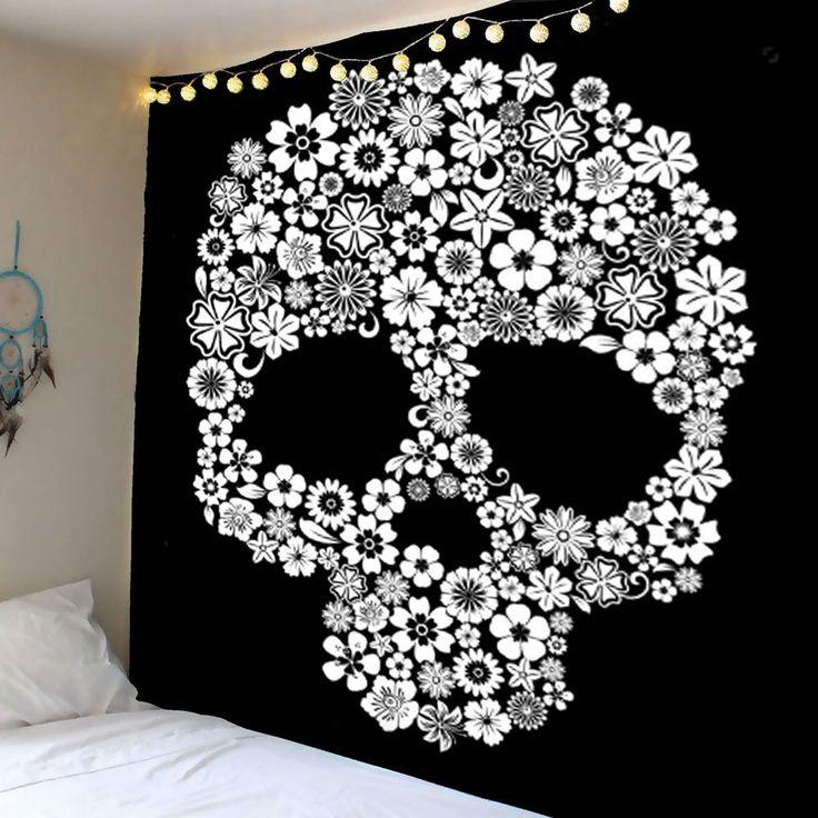 Tapis suspendu pour mur de crâne de fleurs - WHITE W59 INCH * L59 INCH