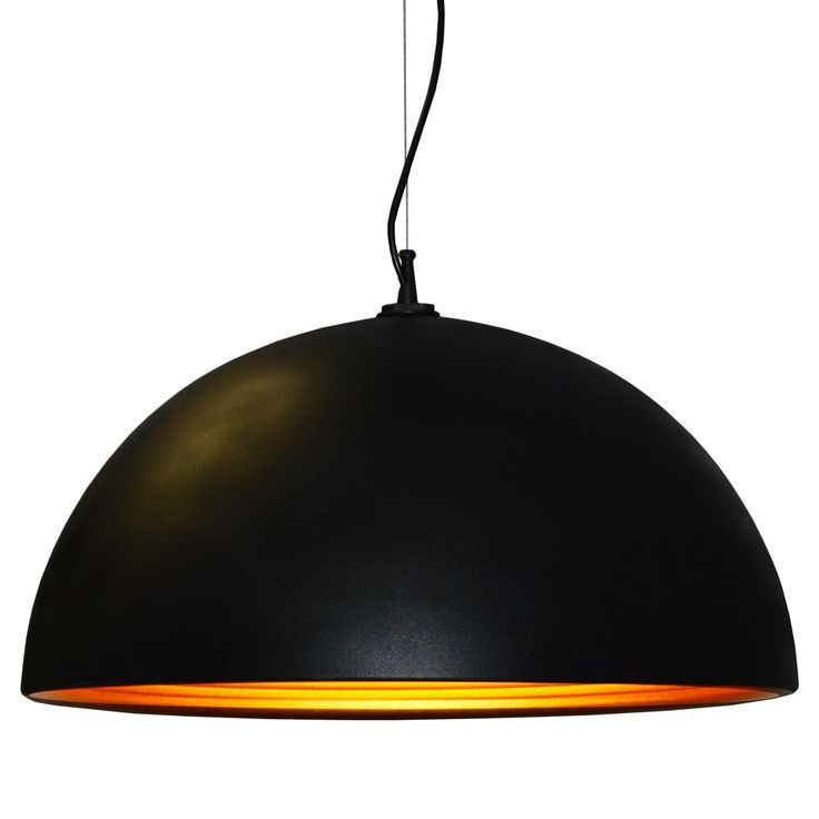 A luxurious bowl shape pendant, this single bulb light features a black shade accented on the inside with gold. Requires a single 100W bulb.<br \> <br \> <ul \><li>Number of Light: 1 Light</li><li>Lig...