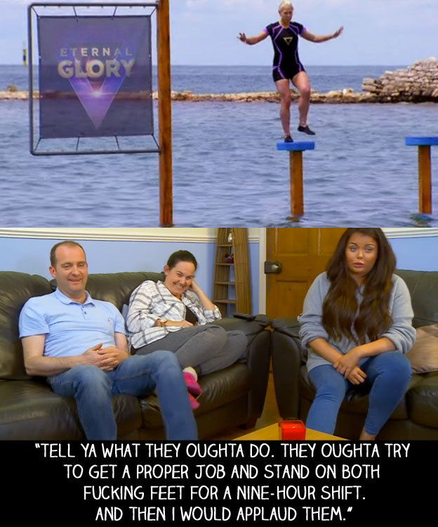 """When ITV had a gameshow that consisted of sport celebrities trying to balance on a pole the longest. 