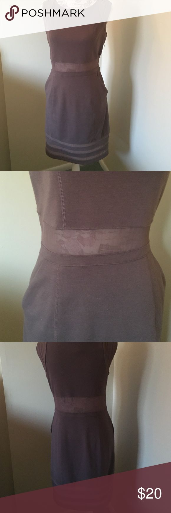 BCBG Generation dress BCBG Generation dress. Taupe in color. Pre-loved but lots of love left in this super sexy but professional dress.   Small Pailin sport on the front as shown in pic. But not really noticeable.  Size 8 but I would say fits a 6 better BCBGeneration Dresses