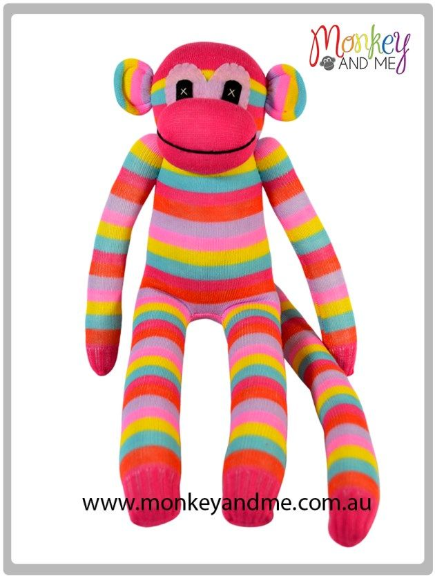 Pink Blue Red Purple Blue Yellow thin Sock Monkey Adopt over at monkeyandme.com.au #sockmonkeys #gifts #toys #monkey