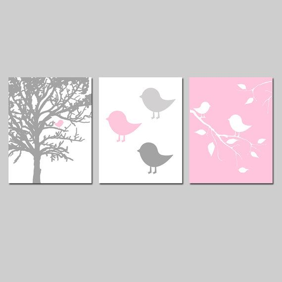 Baby Girl Nursery Art  Modern Bird Trio  Set of Three by Tessyla, $55.00