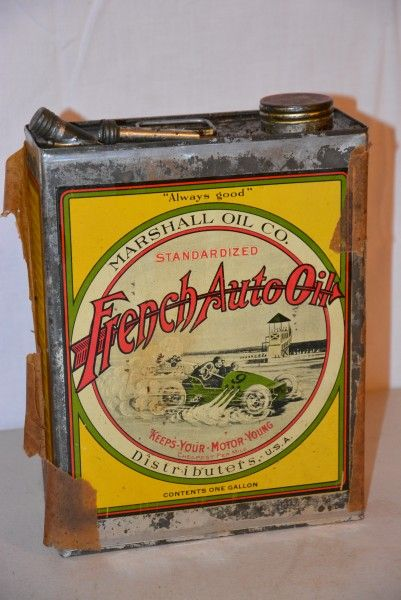 French Auto oil one gallon metal can, valued at $2500 to $3500.