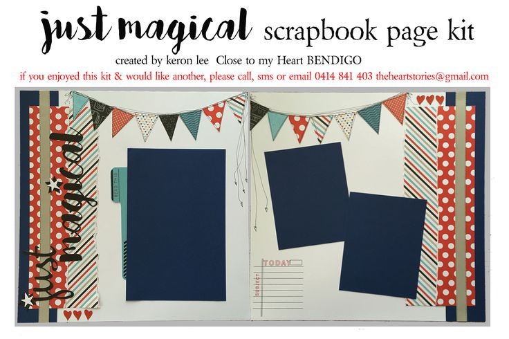 JUST MAGICAL kit This delightful double page scrapbook layout kit is widely applicable to all kinds of photos - school photos, circus, fairs, celebrations, Disneyland, all your fun & silly pics celebrating laughter. Paper is reversible which enables you to copy mine exactly, or to improvise & embrace your own creative flair. $18 ea plus flat $10 per order postage w/i Australia - International postage available. Paypal, pay to moblie or direct debit. Email: theheartstories@gmail.com scrapbook