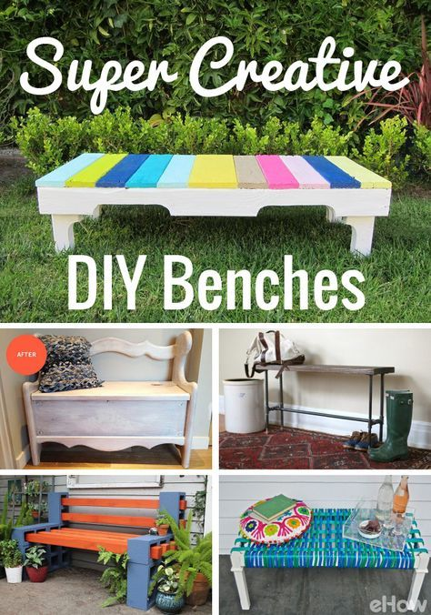 DIY and homemade benches are a trendy way to instantly upgrade your porch, backyard, entry way or any room in your home. These easy DIYS use things like pallets, upcycle desks and cinder blocks, making any of these a great fit into any home.