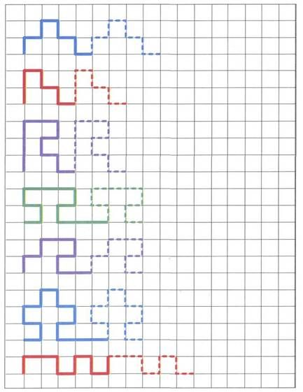 Pattern reproduction on graph paper with fading cues. Great idea for pencil…