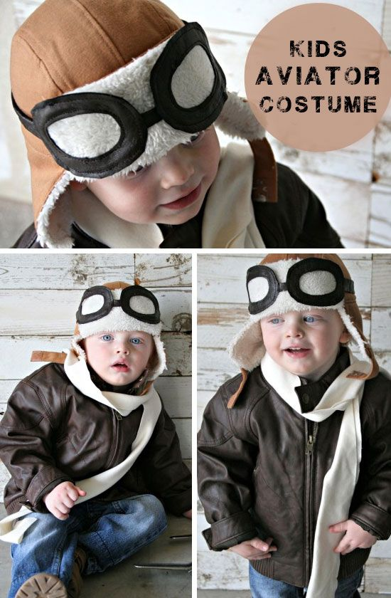 Kids Aviator Costume with DIY Pilot Goggles | Click for 30 DIY Halloween Costumes for Kids to Make | DIY Halloween Costumes for Toddlers