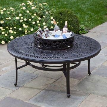 Kaleidoscope Cast Aluminum Wood Burning Fire Pit: Includes iron fire bowl, spark screen, wood grate, and beverage cooler bowl.