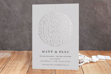 Disco Ball Foil-Pressed Engagement Party Invitations by Phrosne Ras at minted.com