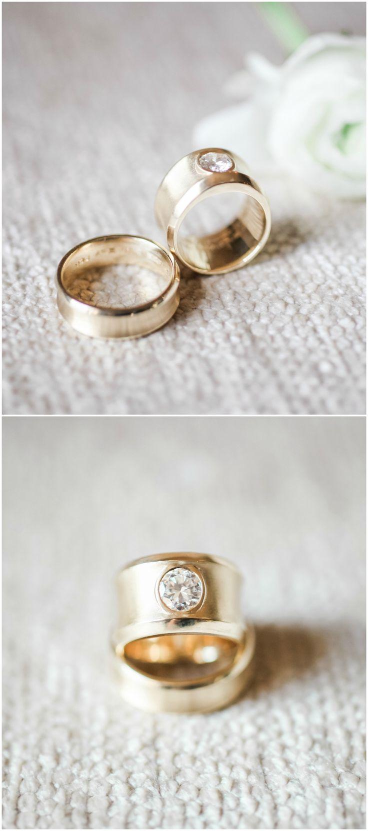 Modern engagement ring, gold, solitaire diamond, wedding band set // b. schwartz photography