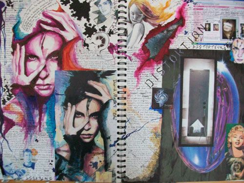 Sketchbook Double Page Spread- Distortion And Fragmentation Research | Flickr - Photo Sharing!