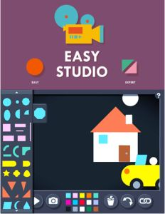 Easy Studio App - kids create animation with different shapes.  Great for learning shapes, colors, animation concept, fine motor skills #kidsapps #math #creativity
