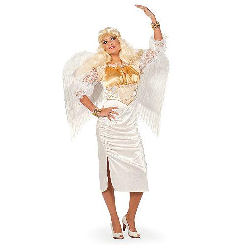 Witte engelen jurk voor dames. Lange witte engel jurk met gouden accenten. Dit engel kostuum is exclusief vleugels en accessoires.