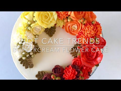 HOT CAKE TRENDS 2016 Buttercream ombre roses and chrysanthemums cake - How to make by Olga Zaytseva - YouTube