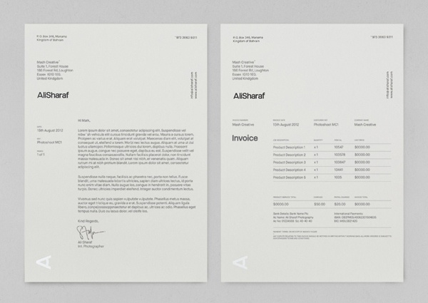 Personalized Receipts Word  Best Invoices  Stationery Images On Pinterest  Invoice Design  How Do You Invoice Someone On Paypal Word with Invoice Price Of New Car Word New Brand Identity For Ali Sharaf By Mash Creative  Bpo Invoice  Creating A Receipt In Word Pdf