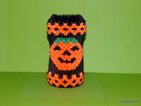 Model Created And Folded By Campean Petru Razvan This Is A Origami Tutorial On How To Make Halloween Pen Holder
