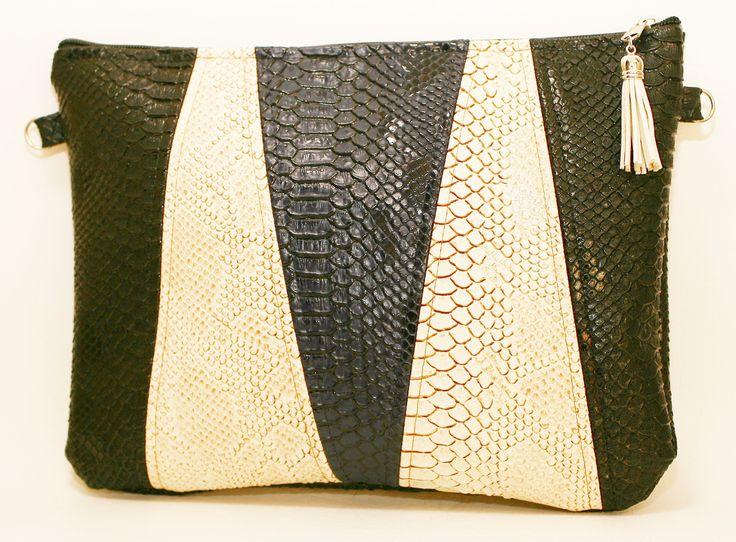 Pochette croco sac simili cuir Tricolore