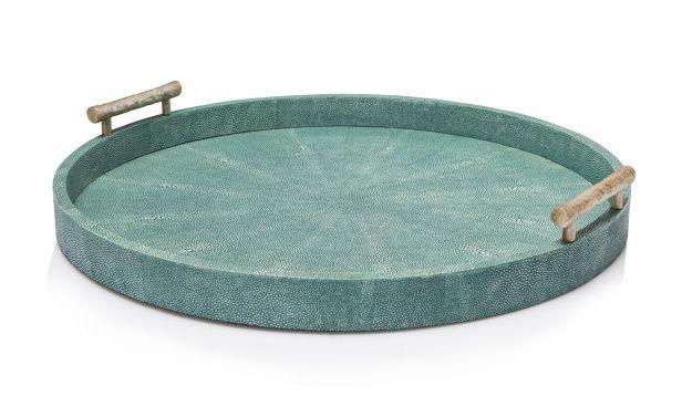 Coco Republic Doris Tray - Faux Shagreen - Large Turquoise