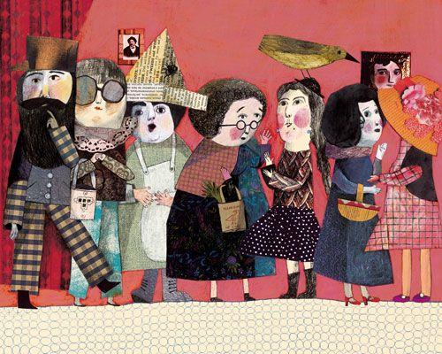 La promenade d'un distrait : Beatrice Alemagna collage of paper cuts mixed media artwork reminds me of mr ben