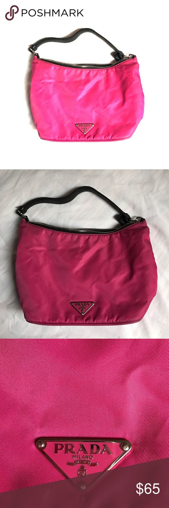 """FLASH SALE! 👛Pink Prada Purse SALE TIL 5PM EST😍 MONDAY FLASH SALE THROUGH 5 PM EST😍. Genuine Prada bag, this is a small purse - pink nylon with black leather straps. Overall this is in great shape, there is some fraying on the strap from use - see pictures. It measures 5.5"""" tall in the middle (say vertically where the logo is placed), 8"""" wide at the zipper, 3.5"""" across the bottom panel. There is one internal zipper compartment. EUC. Bonus 🎁 with any single-item purchase over $20 or…"""
