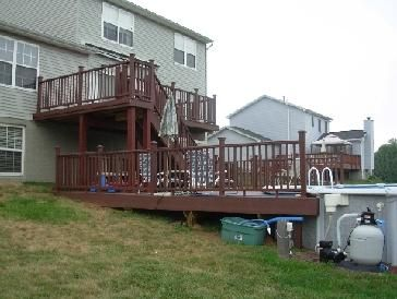 Two Tiered Deck W Pool Outdoor Ideas Pinterest