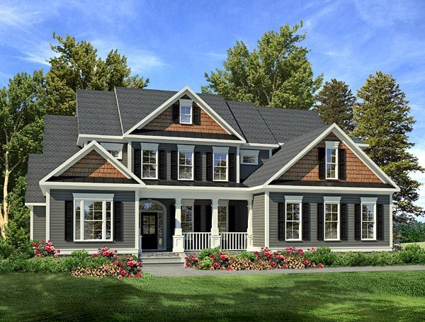 House Plan 58201   Craftsman Plan with 3558 Sq. Ft., 4 Bedrooms, 4 Bathrooms, 2 Car Garage at family home plans