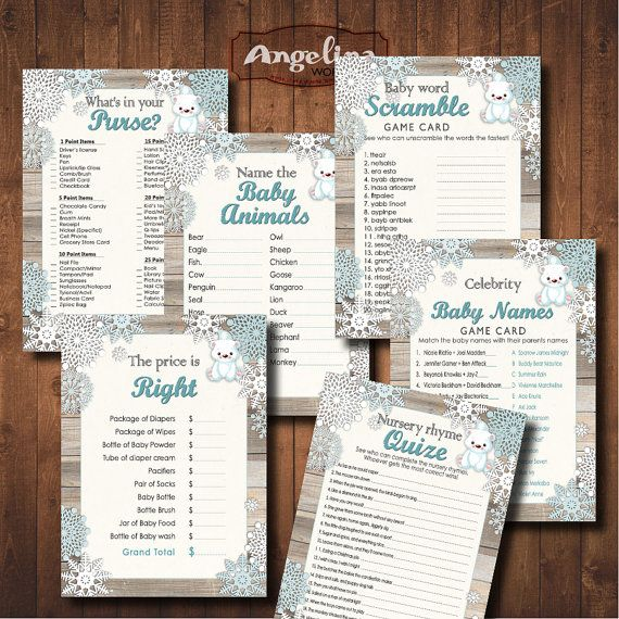 Winter Baby Shower Games. Polar Bear Baby Shower. by AngelinaWorks