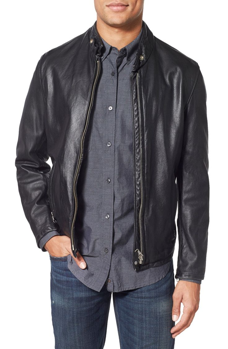 Men's Brown Leather Jacket With Collar