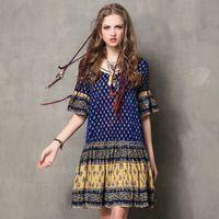 Седьмой 2016 Новый Vintage Этнические Бренд Летом Стиль Тропический Печати Платье Оборками С Коротким Рукавом Случайные Пляжные Платья Женщин Vestidos