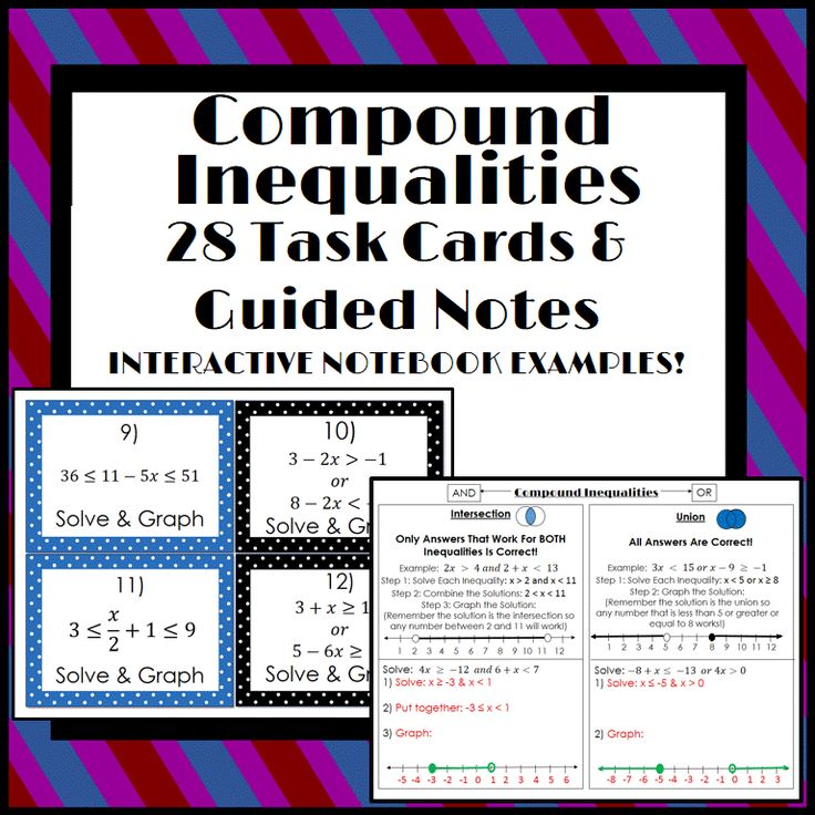 Compound Inequalities Guided Notes & 28 Task Cards Task