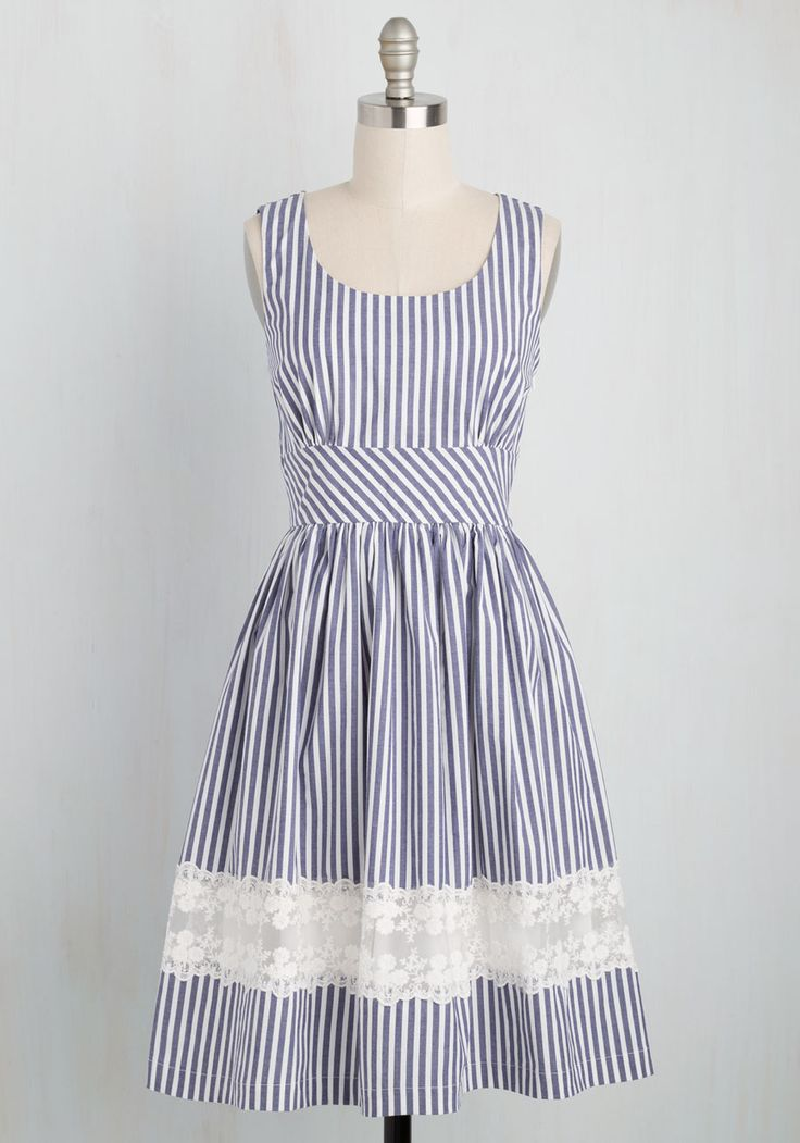 Maine Attraction Dress in Stripes. Youll be the star of Bar Harbor when you greet the town in this striped dress. #blue #modcloth