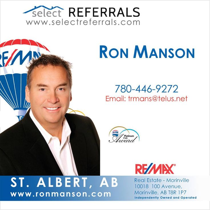 Ron Manson is an active member of the RE/MAX Select Referrals team and is keen on working with your referrals to the St. Albert, Alberta area. Contact Ron direct at: 780-446-9272 or via our website at www.selectreferrals.com#selectreferrals #remax #stalbert #stalbertrealestate