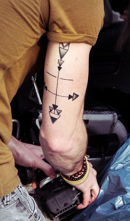 http://ifltattoos.com/minimal-geometric/ Minimal Geometric Tattoo #Arrows, #BlackInk, #Geometric