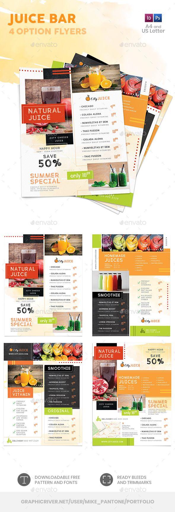 Juice Bar Menu Flyer Templates Psd Indesign Indd Juice Bar Menu Juice Bar Menu Flyer