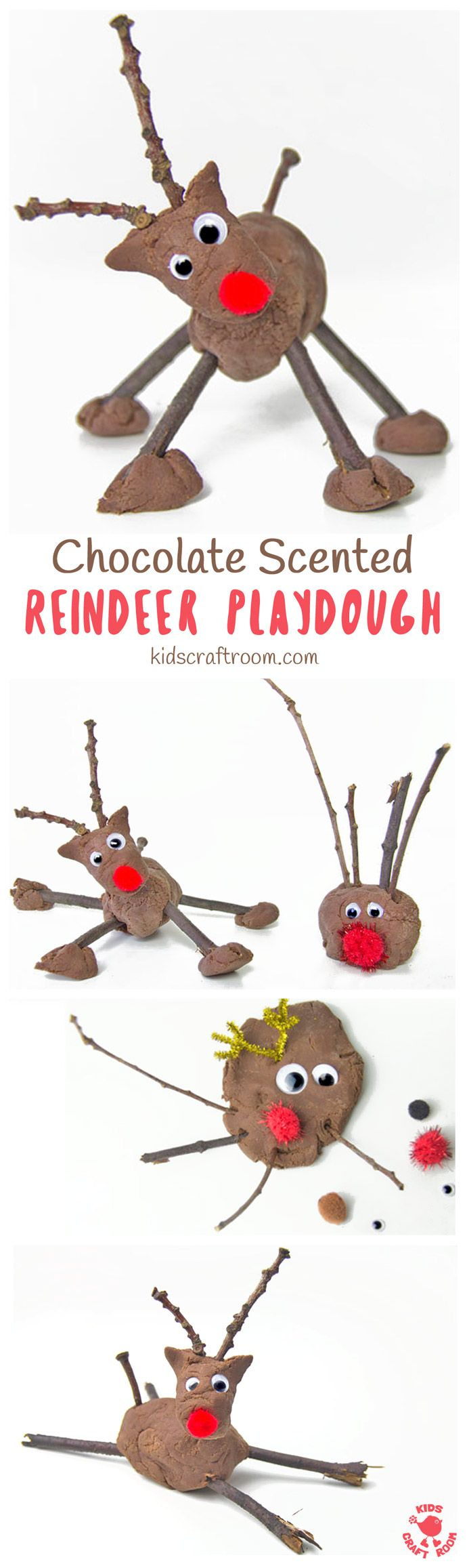 CHOCOLATE SCENTED REINDEER PLAY DOUGH is such a fun Christmas sensory play activity for kids. This no-cook play dough recipe is easy to make and so fun. Add sticks, eyes and red noses for an adorable reindeer craft session. #sensoryplay #christmas #sensor