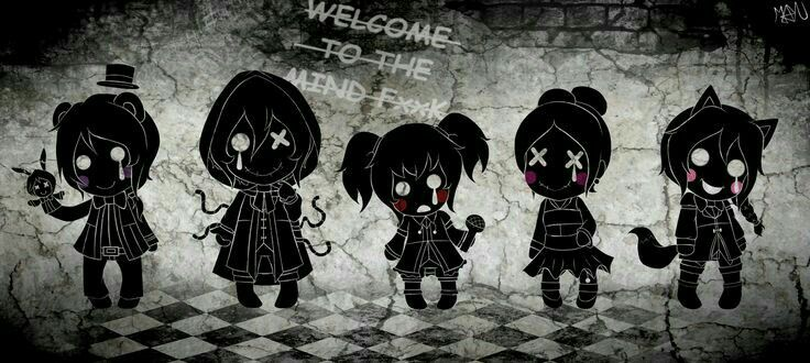Welcome to the Mind Fxxk, text, Sister Location, Baby, Freddy, Ennard, Foxy, Ballora, microphone, crying, sad, shadows, human form; Five Nights at Freddy's