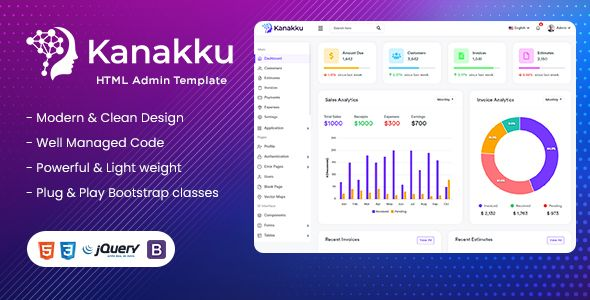 Kanakku Sales Invoices Expenses And Accounts Admin Template Html Laravel Vuejs Angular In 2021 Templates Wellness Design Invoice Template