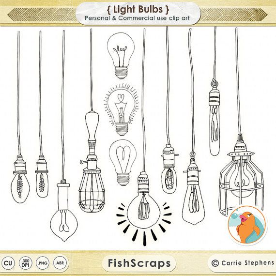 Light Bulb ClipArt - String Light Clip Art - Photoshop Brushes - Digital Stamps - Line Art Drawings - Lightbulb Doodles
