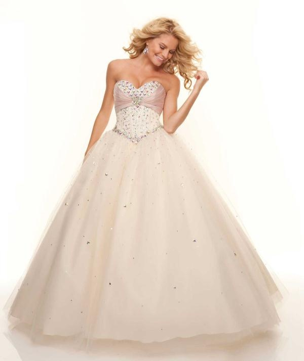 White prom dress with beading