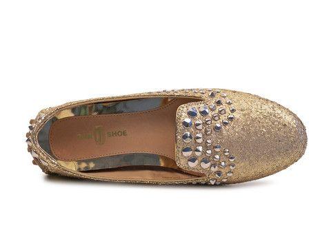 Car Shoe women's Platinum Glitter moccasins shoes - LuxuryProductsOnline