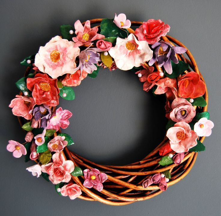 big wreath with ceraminc flowers 40cm  non toxic, acrylic, eco paint and varnish. by MarrusCreations on Etsy